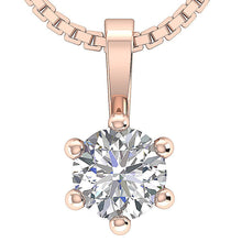 Load image into Gallery viewer, Solitaire Pendants 14K-18k Rose Gold-DP90-0.50-2