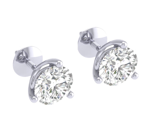 14k/18k White Gold Natural Diamonds Solitaire Studs Earrings SI1 G 0.50 Ct Martini Prong Set 3.90MM
