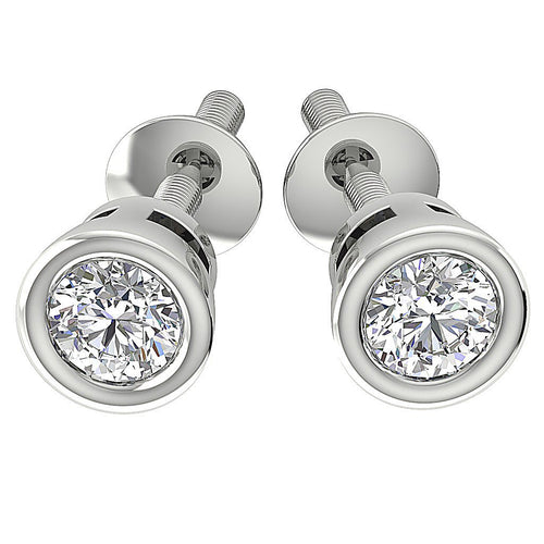 14K-18k White Gold Bezel Set Studs Earring-DST45-0.40CT