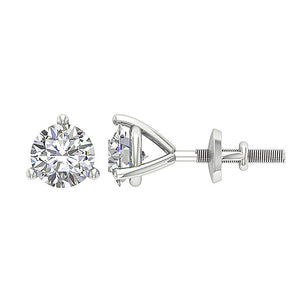 14k/18k Yellow Gold Natural Diamonds Solitaire Studs Earrings SI1 G 0.65Ct Martini Prong Set 4.20MM