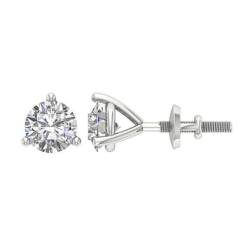 14k/18k White Gold Round Diamonds SI1 G 0.85 Ct Solitaire Studs Earrings Martini Prong Set 4.80MM