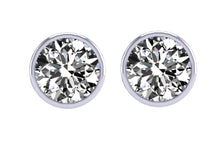 Load image into Gallery viewer, Bezel Set Solitaire Studs Earrings 14k / 18k Gold  I1 G 1.40 Carat Diamond