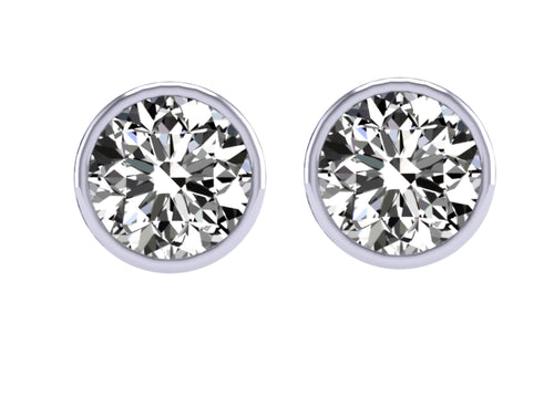 Bezel Set Earring 14K-18k White Gold-DST92-1.40CT