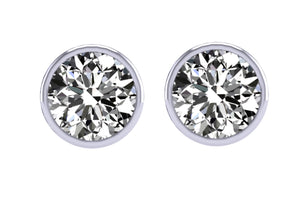 Bezel Set Solitaire Studs Earrings 14k / 18k Gold  I1 G 1.40 Carat Diamond