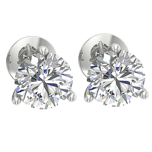 Solitaire Studs Earring 14K White Gold DST95-1.50