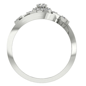 Accent With Solitaire Halo Designer Natural Diamond Anniversary Ring I1 G 0.60 Ct Solid Gold