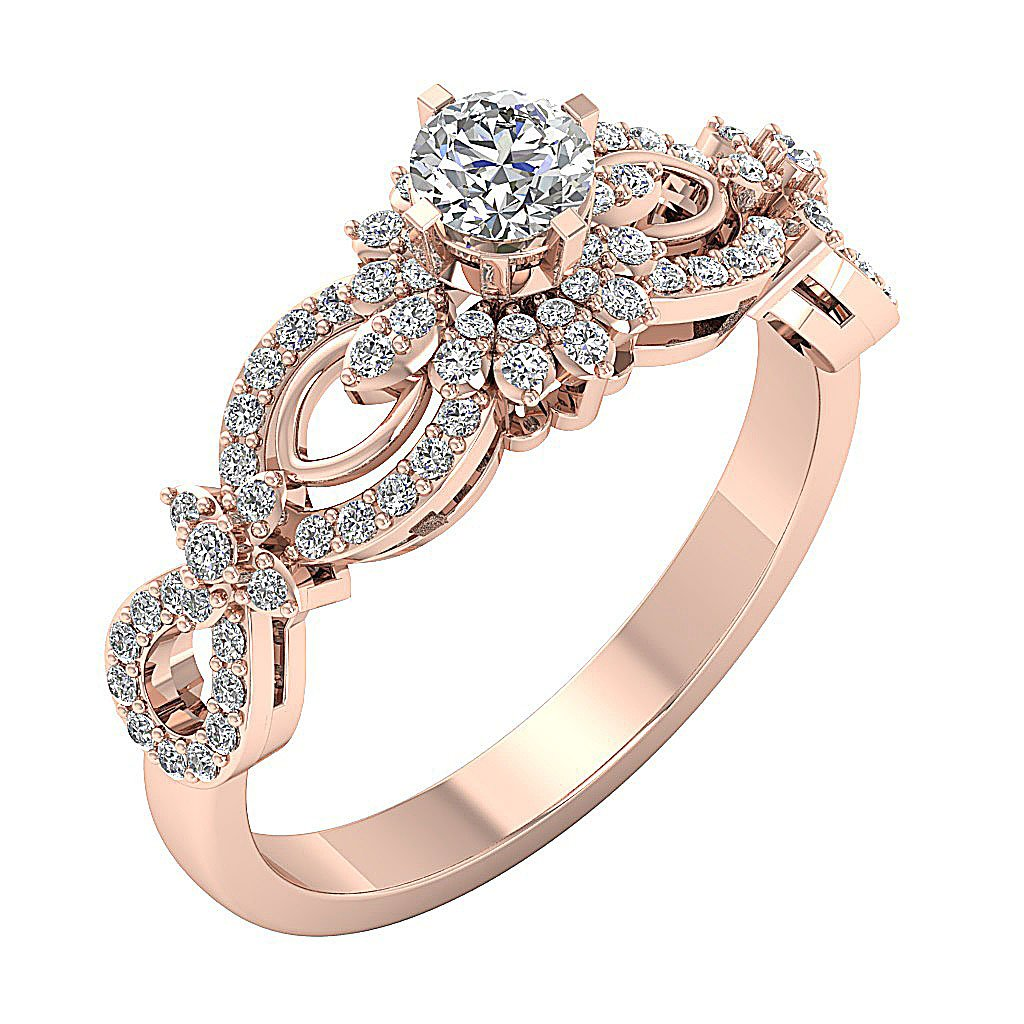 I1 G 0.70 Ct Prong Set 7.80MM 14K Gold Solitaire With Accent Natural Diamond Wedding Designer Ring