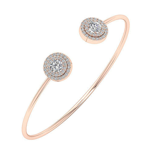 Diamond Bangles 14k White Yellow Rose Gold SI1/I1 G 1.60Ct Natural Diamonds