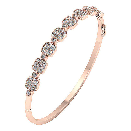 Diamond Bangles Natural Diamonds 14k Solid Gold SI1/I1 G 1.65 Ct Prong & Bezel Set