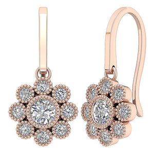 14k Rose Gold Bezel Setting Earrings-DE108