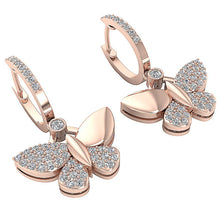 Load image into Gallery viewer, Cross View Rose Gold Round Diamonds Earrings-DE200