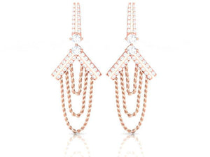 Front View Lenght 3.93MM 14k Rose Gold Earrings
