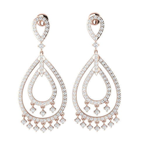 Dangle Chandelier Earrings 14k Solid Gold I1 G 1.75 Ct Round Cut Diamonds