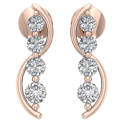 Journey Diamonds Rose Gold Earrings-DE178