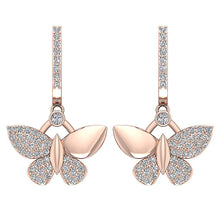 Load image into Gallery viewer, 14k Rose Gold Butterfly Designer Earrings-DE200