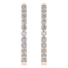 Load image into Gallery viewer, Inside Outside Hoop Earrings Round Cut Diamonds 14k White Yellow Rose Gold I1 G 0.75 Ct