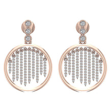 Load image into Gallery viewer, Front View Designer Round Earring 14K Rose Gold-DE256