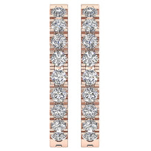 Load image into Gallery viewer, Small Hoop Earrings 14k White Yellow Rose Gold I1 G 0.25 Ct Natural Diamonds Pave Set 0.59 Inch