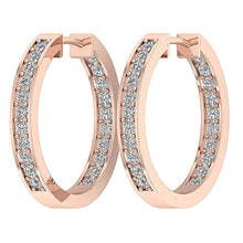 Load image into Gallery viewer, Hinged Back Rose Gold Hoops Earring-E-254