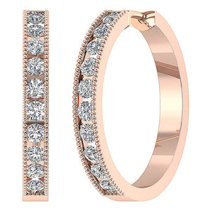 Large Hoops Earrings 14k White Yellow Rose Gold SI1 G 1.75Ct Natural Diamonds Channel Set