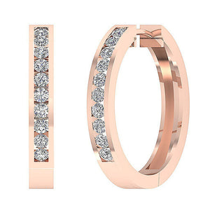 Large Hoops Earrings SI1 G 2.20Ct Natural Diamonds Channel Set 14k White Yellow Rose Gold