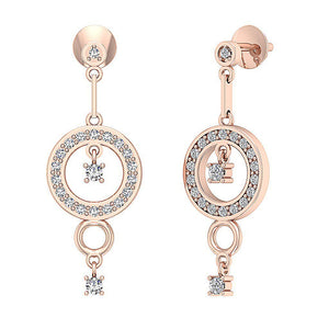 14k Rose Gold Dangle Chandelier Earrings-E-734