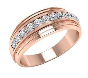 Mens Wedding Ring SI1/I1 G 0.55Ct 14k Solid Gold Natural Diamonds Channel Set Width 7.70MM