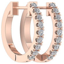 Load image into Gallery viewer, Genuine Diamond Rose Gold Small Hoops Earring-E-576-8