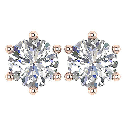 6 Prong Set Solitaire Stud Earring Brilliant Round Diamond I1 G 2.50 Ct 14k Solid Gold