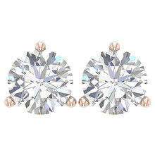 Load image into Gallery viewer, 14K Gold Solitaire Studs Earring Top View -E-435-2.10-2