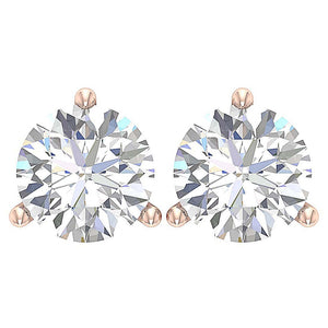14K Gold Solitaire Studs Earring Top View -E-435-2.10-2