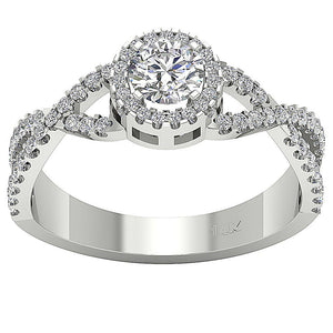 Solitaire With Accent Round Diamond Engagement Ring SI1 G 1.10 Ct 14K Solid Gold