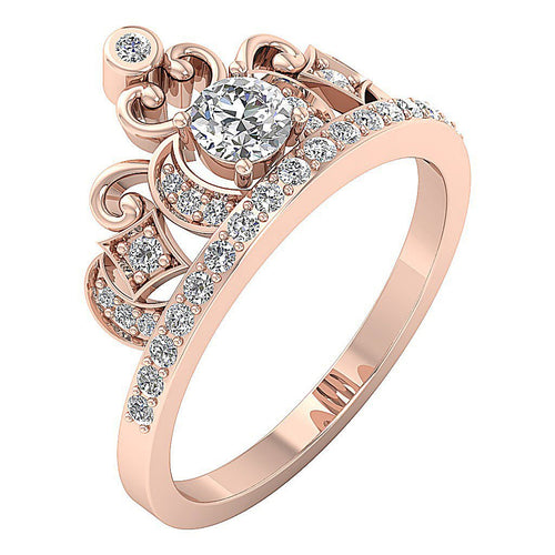 14K Round Cut Diamond Ring Rose Gold Side View-DWR287