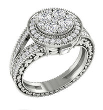Load image into Gallery viewer, 14K Round Cut Halo Diamond Ring White Gold Designer Side view-SR-1089