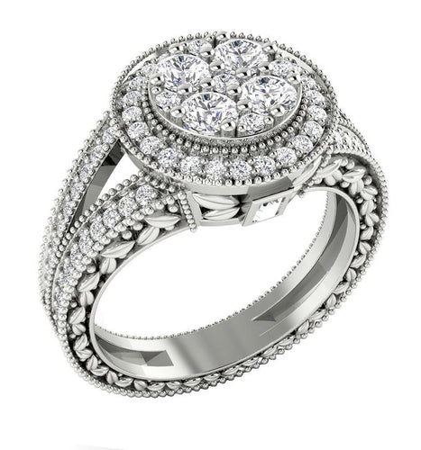 14K Round Cut Halo Diamond Ring White Gold Designer Side view-SR-1089