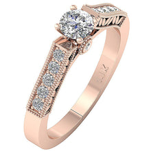 Load image into Gallery viewer, 14K Solitaire Accent Ring Side View Natural Diamond Ring Rose Gold-DSR199