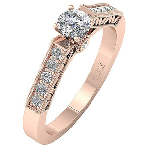 14K Solitaire Accent Ring Side View Natural Diamond Ring Rose Gold-DSR199