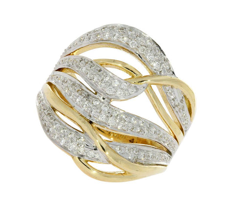 Right Hand Designer Wedding Ring Natural Diamond VVS1 E 0.75 Ct 14k Two tone Gold Pave Set 20.00MM