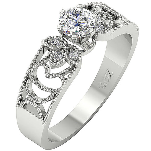 14K White Gold Accent Solitaire Natural Round Cut Diamond Ring-DSR233