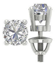Load image into Gallery viewer, 14K Solid White Gold Stud Earring-DST45-2.50-10