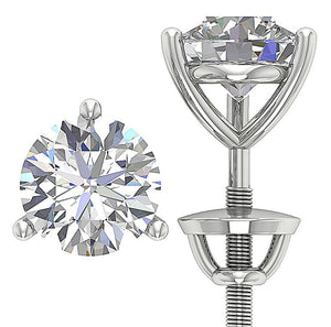 Martini 3 Prong Set Solitaire Stud Earring 14k Gold I1 G 2.50 Ct Round Cut Diamond