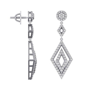 Side View Natural Round Cut Diamonds Earrings-E-727