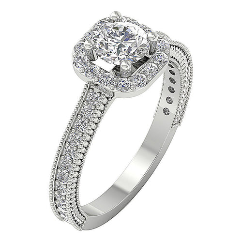 14K White Gold Natural Diamond Ring Prong & Pave Set Front View-DSR600