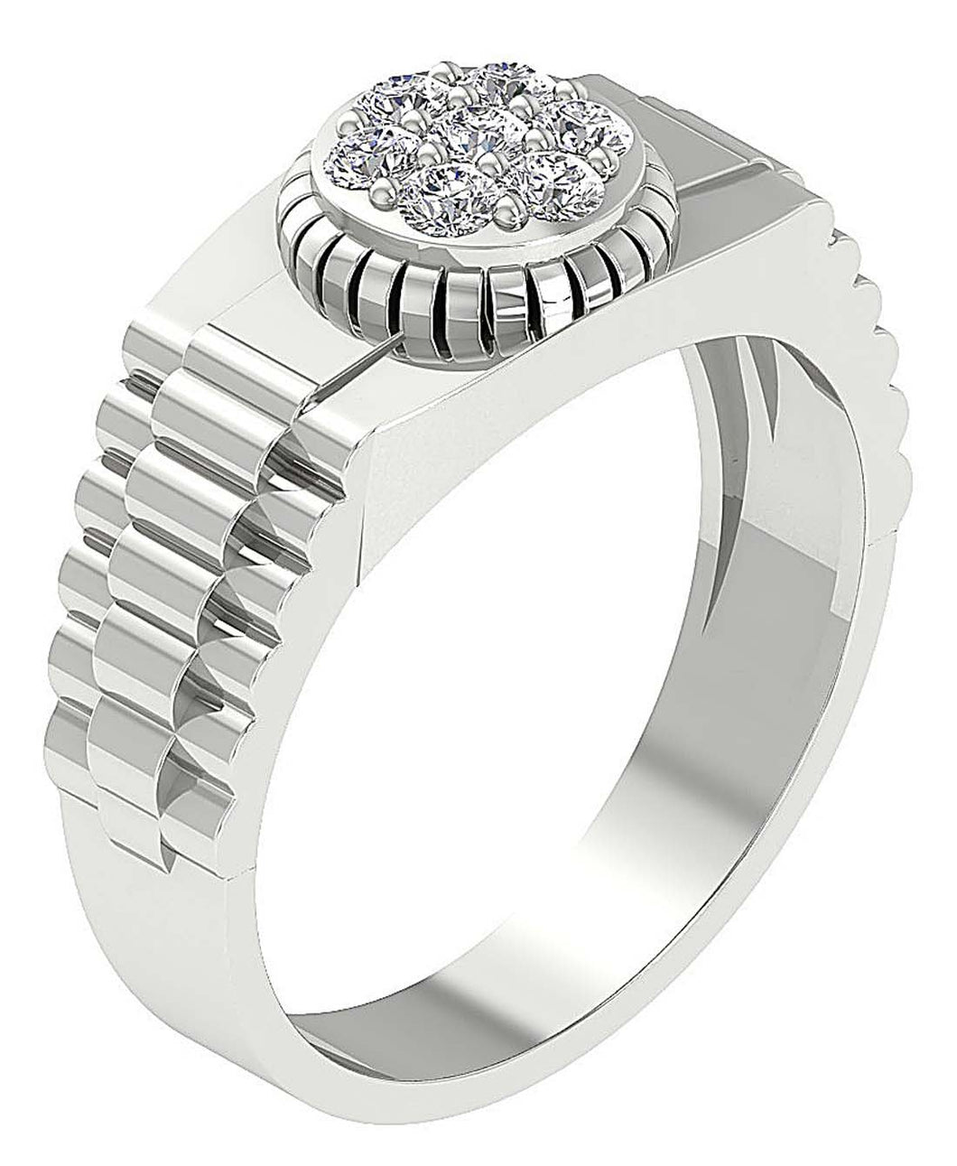 14k Solid Gold SI1/I1 G 0.50Ct Mens Anniversary Ring Natural Diamond Prong Set Width 10.00MM