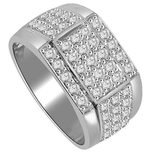 SI1/I1 G 1.55Ct 14k Solid Gold Mens Wedding Ring Natural Diamonds Pave Set Width 11.40MM