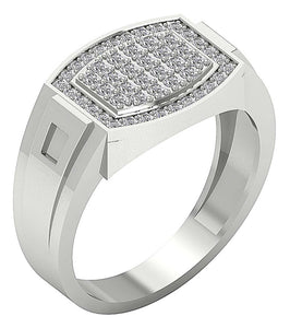 Mens Anniversary Ring 14k Solid Gold SI1/I1 G 0.80Ct Round Diamond Prong Set Width 12.60MM