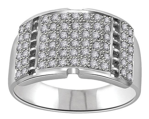VVS1/VS1 E 0.70Ct 14k Solid Gold Natural Diamonds Mens Engagement Ring Pave Set Width 12.45MM