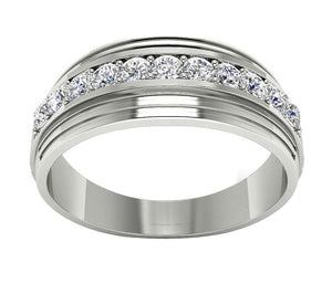 Mens Wedding Ring VVS1/VS1 E 0.55Ct 14k Solid Gold Natural Diamonds Channel Set Width 7.70MM