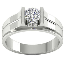 Load image into Gallery viewer, Mens Solitaire Engagement Ring SI1/I1 G 0.80Ct 14k Solid Gold Round Diamonds Bar Set Width 7.50MM