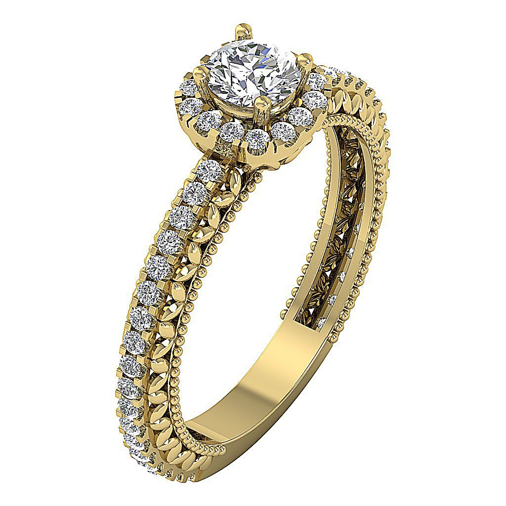 Solitaire Halo Engagement Ring 14K Gold Natural Round Diamond  I1 G 1.05 Ct